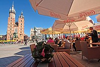 St' Mary's Basilica and restaurant, , Main Market Square, Old Town, Krakow, Poland, Europe