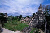 GUATEMALA, TIKAL, VIEW OF TEMPLE I TEMPLE OF THE GIANT JAGUAR, GRAND PLAZA, AND TEMPLE II