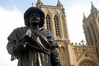 Bristol UK Statue of Rajah Rammohun Roy, a Begali philosopher, in front of the cathedral