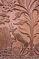 India - Rajasthan - Bikaner - detail of the wall decoration of the Great Hall insdie Junagarh Fort