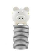 Silver play money with a piggy bank isolated against a white background