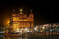 India - Punjab - Amritsar - the Golden Temple at night