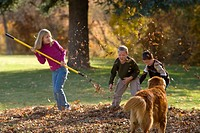 Children raking and playing in Autumn leaves