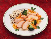 Turkey breast with sweetcorn, carrot and broccoli
