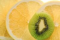 Sliced Kiwi Fruit and Grapefruit