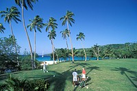 Fiji, Wakaya club, people playing golf