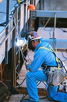 Welder working, Denver, CO, USA