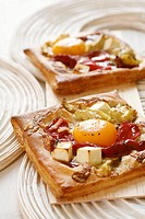 Feta, egg and vegetable tarts