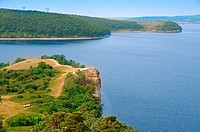 Beautiful scenery of Volga river in Russian National park 'Samara Luka'  Near the Volga hydroelectric station and dam
