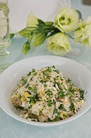 Rice with lemon, leeks and watercress