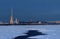 Russia, St. Petersburg, Peter and Paul fortress in winter