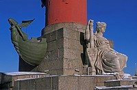 Russia, Petersburg, detail of the Rostral Column in winter