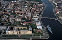 Russia, St. Petersburg, the Naval Academy and the battleship Aurora, aerial view