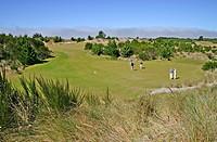 Golfers at Bandon Trails Golf Course in Bandon Dunes Golf Resort Bandon Oregon