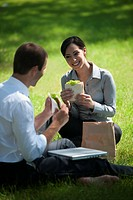 Business people eating lunch on grass