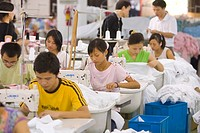 SHENZHEN, GUANGDONG PROVINCE, CHINA _ Workers in a garment factory in city of Shenzhen, one of mainland China´s first Special Economic Zones, SEZ.