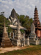 Cambodia, Battambang, stupa and pagodas