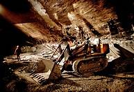 Italy, Liguria, Lavagna. Slate quarry cave