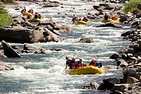 BIG SKY, MONTANA, USA _ White water rafting on the Gallatin River.