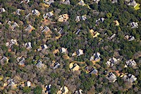 Aerial of residential estate in the woods of Buffelspoort, North West Province, South Africa