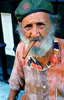 Cuba, Havana, senior man smoking cigar