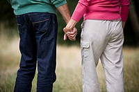 A senior couple holding hands, rear view