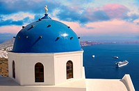 Blue Domed church of Imerovigli, Santorini, Greece