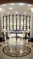 Entrance at night of Berjaya Times Square mall in Kuala Lumpur, Malaysia