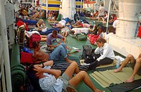 Greece, Crete, People on a Ferry Boat.