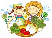 Boy and Girl holding the basket of vegetable