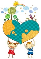 Children holding earth in heart shape