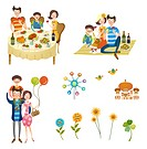 Holidays with family icon set