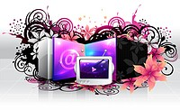 Television and email sign with flora design (thumbnail)