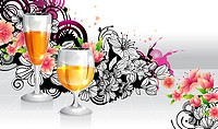 Refreshment beverage in glass with flora design