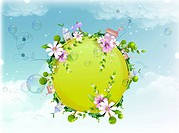 Globe covered with spring flowers (thumbnail)