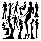 Set of silhouette of the woman isolated on white background (thumbnail)