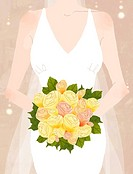 Close_up of bride holding bouquet of flowers