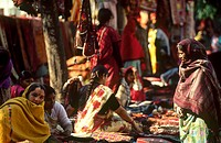 India, New Delhi, women in Connaught street market