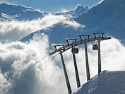View of the Ski Resort in Sölden above the Clouds.