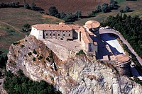 Marche, San Leo, the castle aerial view