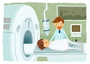 Male patient undergoing CAT scan