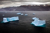 Aeriel view over icebergs at Uummannaq Fjord, Greenland