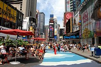 Pedestrian area on Broadway at Times Square. Theater District. Manhattan. New York, New York. USA.