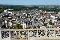 over view on the historical center from the top of the tower bell of the Cathedral Saint Stephen, Bourges, Cher department, Berry province, region of ...