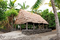 Puuhonua O Honaunau National Historic Park City of Refuge Kona Hawaii Pacific Ocean Thatched Huts