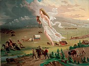 American progress. Allegorical female figure of America leading pioneers and railroads westward.