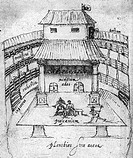 Performance in progress at the Swan theatre in London in 1596