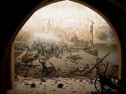 Battle on Charles Bridge in Prague in 1648, ending the Thirty Years' War. Picture and installation created for the Prague exhibition of 1891
