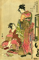 Two geishas dressing for a festival, 1785. One is putting on a sock with shaping for big toe. Lamp with paper shade, front right. Kitagawa Utamaro 175...