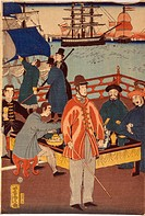 One print of triptych showing European merchants taking refreshment with Japanese. In the background are ships in Yokohama harbour, Japan, 1861. Utaga...